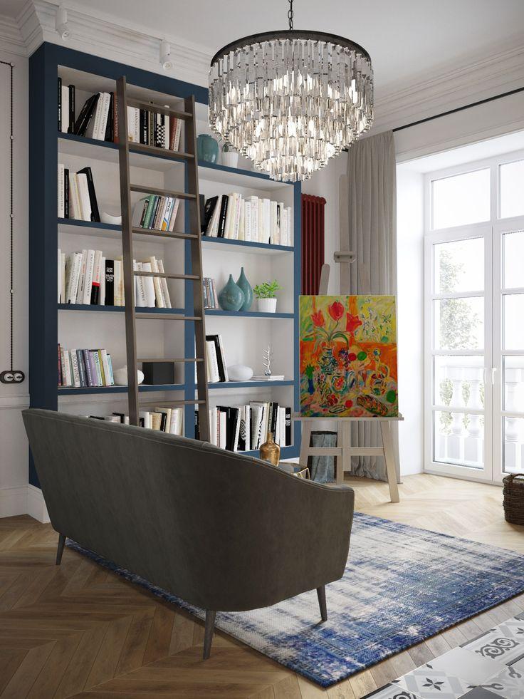 дизайн гостиной с книжным стеллажом и мольбертом