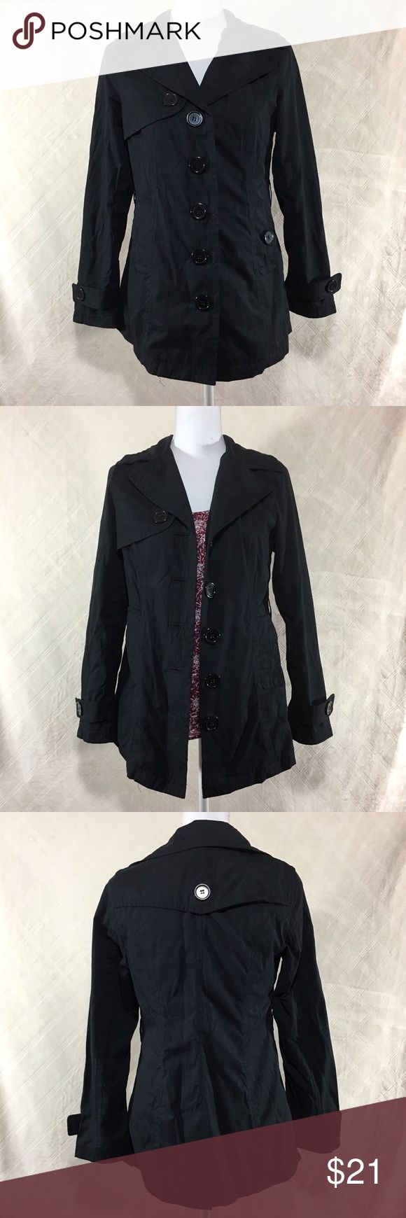 Black lightweight trench coat Black lightweight trench coat. Buttons up, two pockets with buttons. Cute polka dot trim inside. Jou Jou size small. 70% cotton 30% polyester. Jou Jou Jackets & Coats Trench Coats