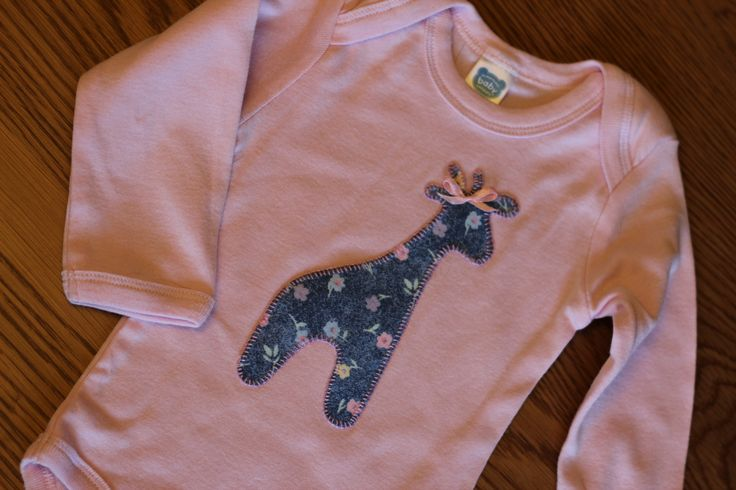 Giraffe appiqued onesie