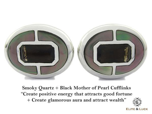 """Smoky Quartz + Black Mother of Pearl Sterling Silver Cufflinks, Rhodium plated, Prestige Model """"Create positive energy that attracts good fortune + Create glamorous aura and attract wealth"""" *** Combine 2 Gemstone Powers to double your LUCK ***"""