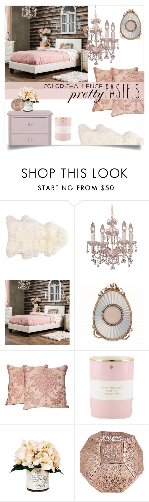 """""""Luxe Bedroom"""" by groove-muffin ❤ liked on Polyvore featuring interior, interiors, interior design, home, home decor, interior decorating, Crystorama, Furniture of America, Fortuny and Kate Spade"""