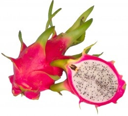 Pitaya refers to the fruit of several cactus species in Asia. It's also known as dragon fruit and strawberry pear. The fruit is eaten raw and is sour and juicy, which makes it a favorite thirst-quencher of hikers.    The pitaya's skin ranges from yellow to pinkish red. The flesh is gelatinous, white and peppered with black seeds.