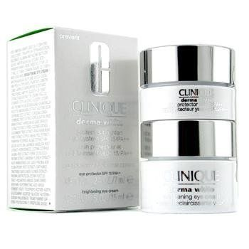 CLINIQUE by Clinique Derma White Protect & Brightening Eye System: Protect SPF 15 7ml+ Brighten Eye Cream 15ml--2pcs for Women by Clinique. $63.37. Derma White Protect & Brightening Eye System: Protect SPF 15 7ml+ Brighten Eye Cream 15ml--2pcs. Fragrance Notes:. Recommended Use:. Clinique rolls out a  Skincare blend created for Women deriving out of the Clinique profile with a Derma White Protect & Brightening Eye System: Protect Spf 15 7ml+ Brighten Eye Cream 15ml--2pcs For...