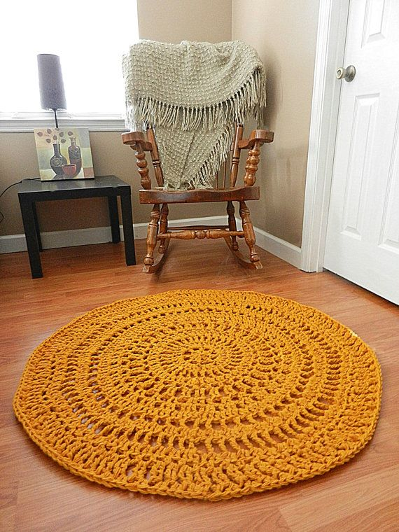 Gold Lace Crochet Doily Rug Geometric Rug Area Rug