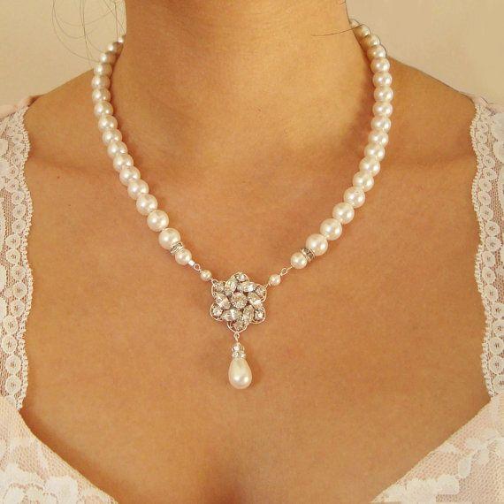 Braut Halskette Perle Hochzeit Schmuck Jahrgang von luxedeluxe