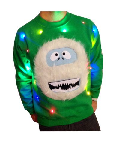 Light Up Christmas Sweater!  - Abominable Snowman - Christmas Jumper - Ugly Christmas Sweater - SALE!!!   _____**Fast Shipping**_____ by DecalsAffordable on Etsy https://www.etsy.com/listing/212947281/light-up-christmas-sweater-abominable