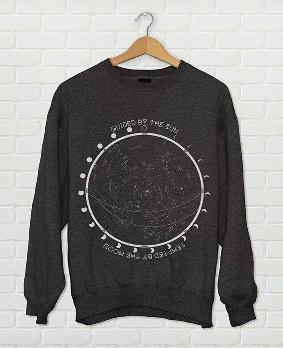Star Chart Constellation Moon Phases Crewneck Sweatshirt // Moon Child Shirt // Boho Sweatshirt - Boho Clothing // Women's Urban Clothing