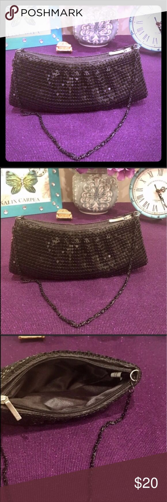"Vintage Black duo 2 for 1 sequin Clutch & coin Gorgeous Vintage chained zipper sequin clutch with vintage zippered coin purse both excellent condition! Slight wear signs vintage Clutch 8.5"" x 4"" .5""  coin purse 5"" x 4 "". Bags Clutches & Wristlets"