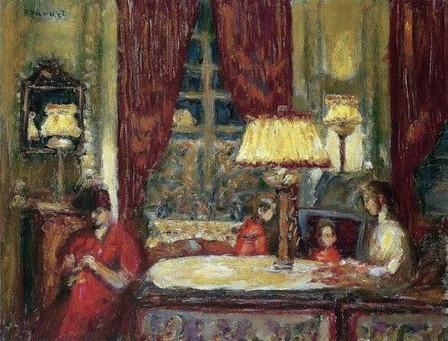The Evening Under the Lamp - Pierre Bonnard , 1903  French,1867-1947  Oil on canvas