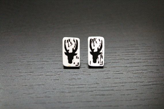 Black and White Deer Earrings by PaperAlphabet on Etsy, $10.00