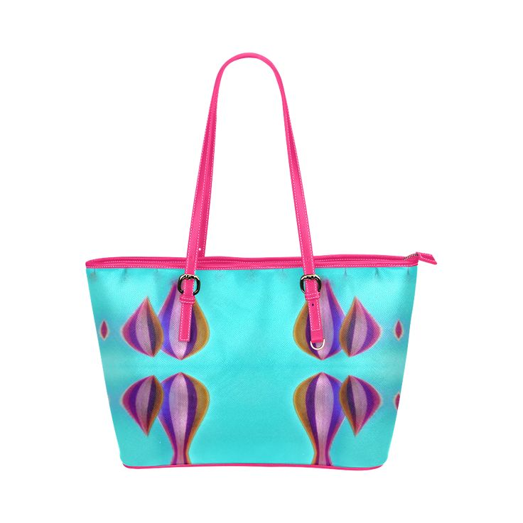 Leather tote bag  with sea colors Leather Tote Bag/Large (Model 1651)