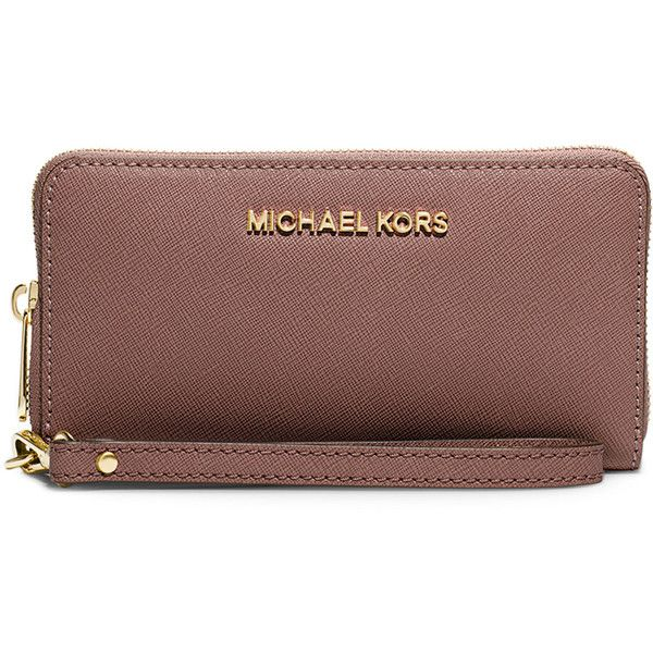 MICHAEL Michael Kors Jet Set Travel Saffiano Multifunction Tech... (135 CAD) ❤ liked on Polyvore featuring bags, wallets, dusty rose, wallet, cell phone wristlet, saffiano leather wallet, wristlet cell phone wallet and cell phone wallet