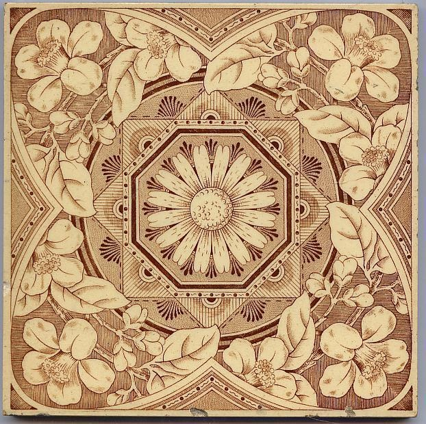 Antique Victorian Majolica Aesthetic Style Ceramic Tile