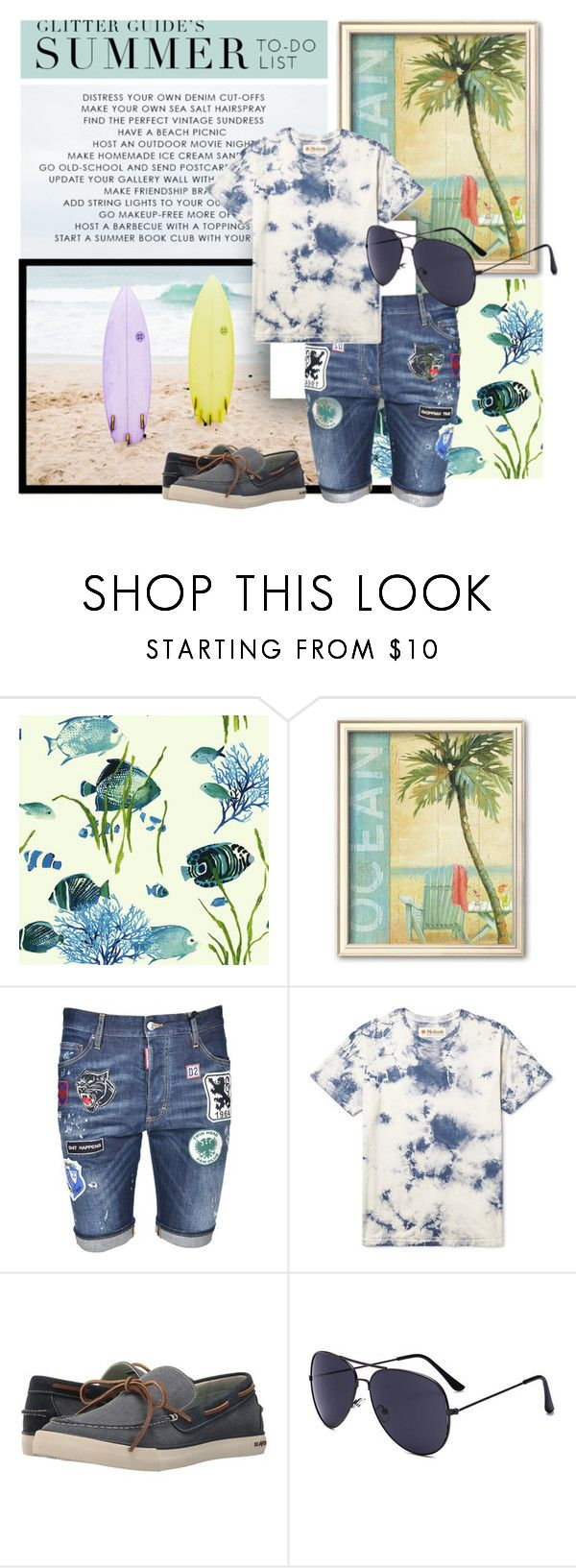 """""""men's beach style"""" by sahrish-hossain ❤ liked on Polyvore featuring Dsquared2, SeaVees, men's fashion, menswear, beachstyle, denimshorts, mensstyle and tiedieshirt"""