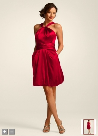 Apple red satin bridesmaid dresses