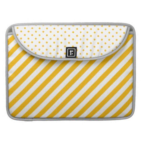 Yellow Thick Stripes and Polka Dot Laptop Sleeve | #laptop #computer #ipad #mac #sleeve #bags #modern #colorful