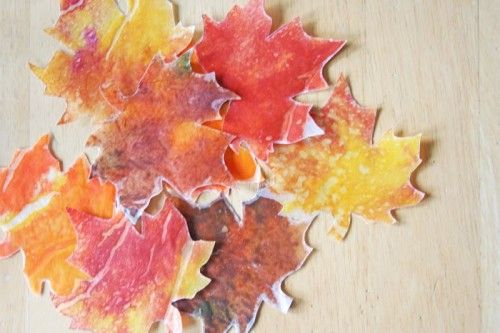Fall Leaves wax paper crayon craft
