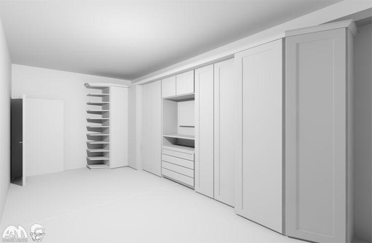 Il progetto del nostro Architetto Francesco Previtali per un grande armadio su misura in una camera da letto a Roma