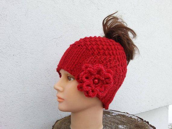 Messy bun beanie Rose Freeform crochet Women by  Isabellwoolstudio, #Messybunbeanie