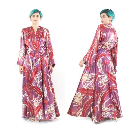 Vintage 1940's Dressing Gown Robe Palm Print by honeymoonmuse