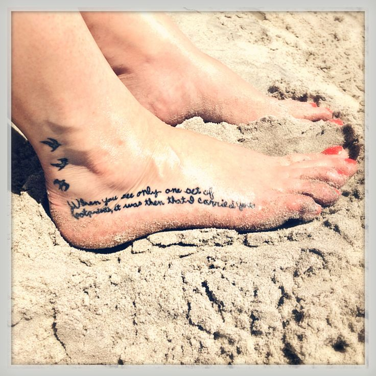 Foot tattoo in my Grammy's handwriting. Religious in memory tattoo. Footprints in the sand foot tattoo. Flying birds ankle tattoo. Beach