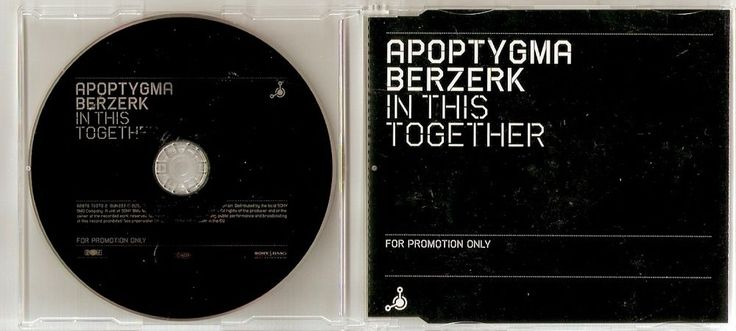 APOPTYGMA BERZERK In This Together 1 track Promo CD Single EU 2005