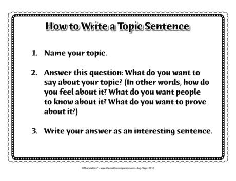 how to write a topic setnece