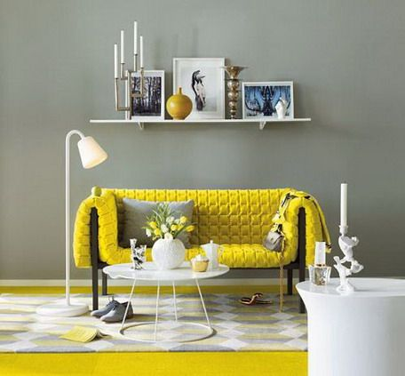 Soft Grey Wall Color Theme and Yellow Sofa Sets in Small Living Room Design Ideas