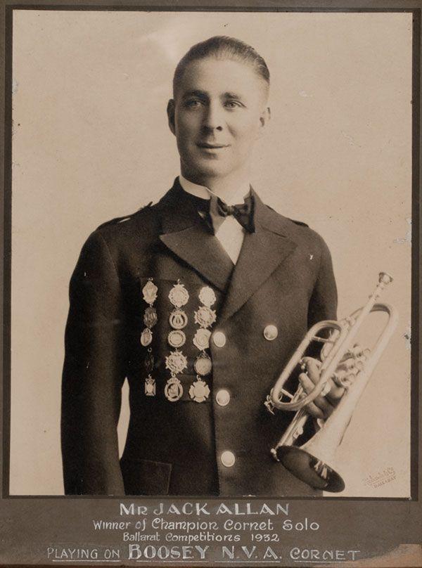 MP 61549. 1932. Mr Jack Allan, winner of Champion Cornet Solo Ballarat Competitions 1932 and member of the Malvern Municipal Band.