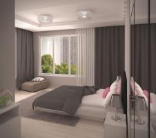 Aranżacja sypialni wystrój nowoczesny w kolorach biel, róż, szary - projekt wnętrza #6634530, Homplex