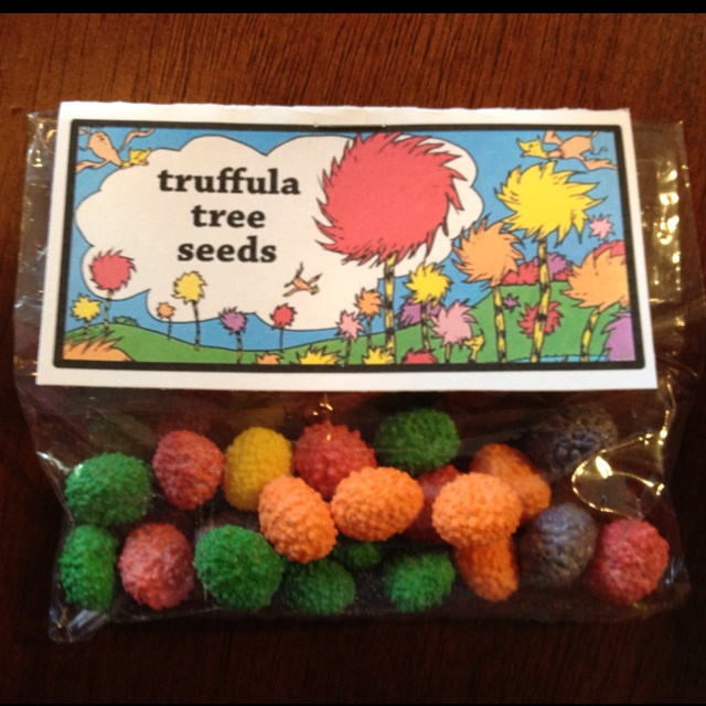 Truffula tree seeds (nerds jelly beans)