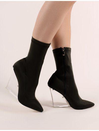 Glance Perspex Wedge Ankle Boots in Black in 2019  cd693ce652b3