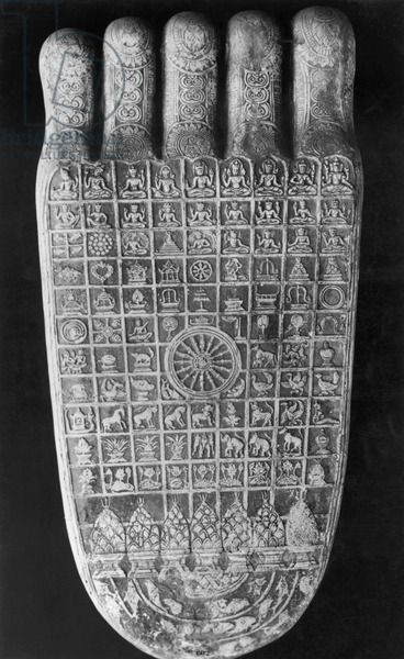 Sacred signs on the Buddha's footprint, late 8th-late 12th century (stone)