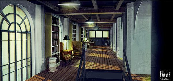 Environment interior - Library Hallway  Cinema set Codice Privato by Silva Giovanni