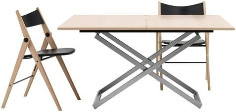 Rubi adjustable table, the product is available in different colours, oak veneer/brushed steel.