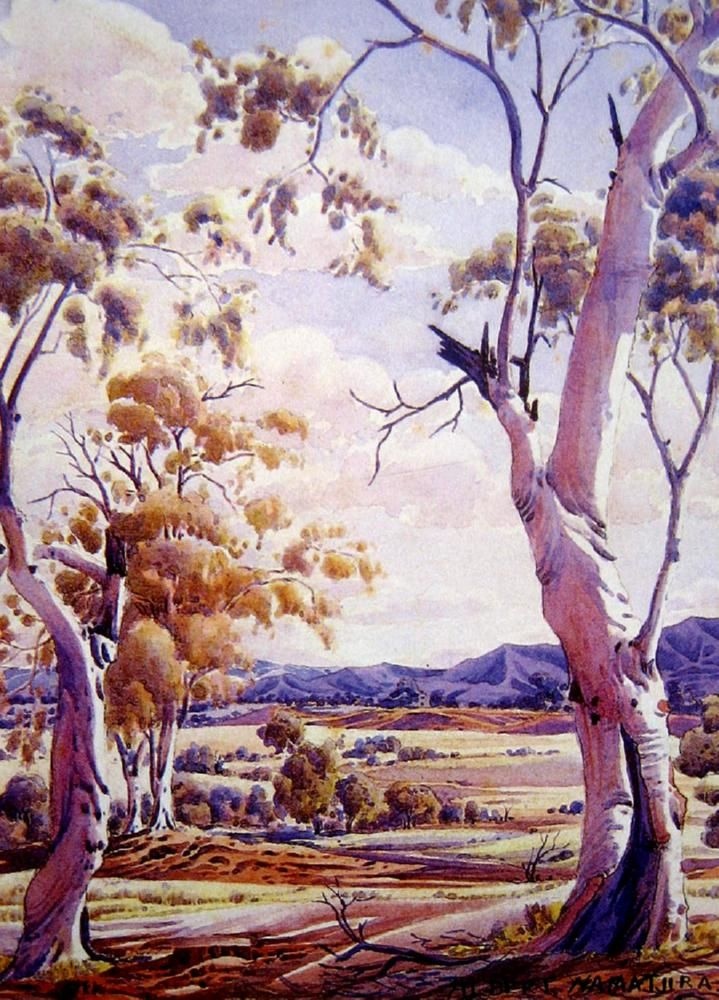 Albert Namatjira, Landscape with Gums, watercolour on paper, signed lower right, 36 x 26 cm