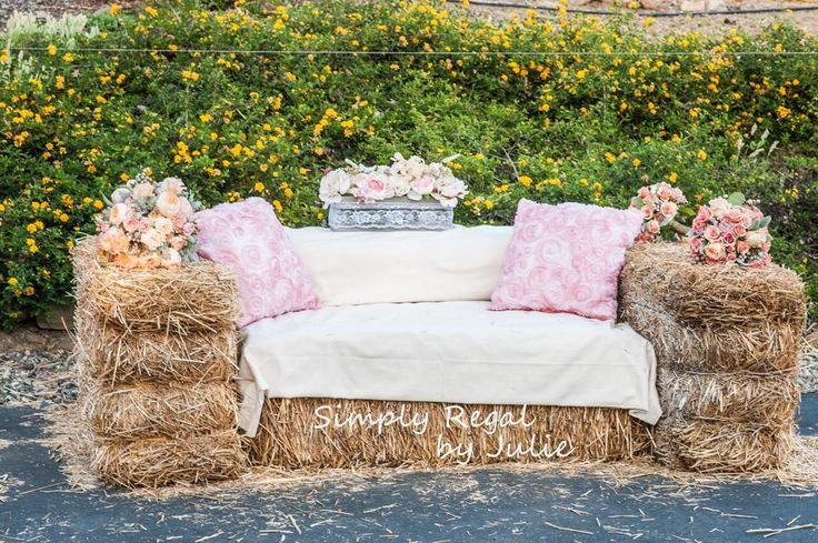 Hay Bale Sofa. Rustic Straw Sofa for Barn Weddings, Ranch Weddings or just down home rustic weddings. Romantic Peach and Pink - Simply Regal by Julie