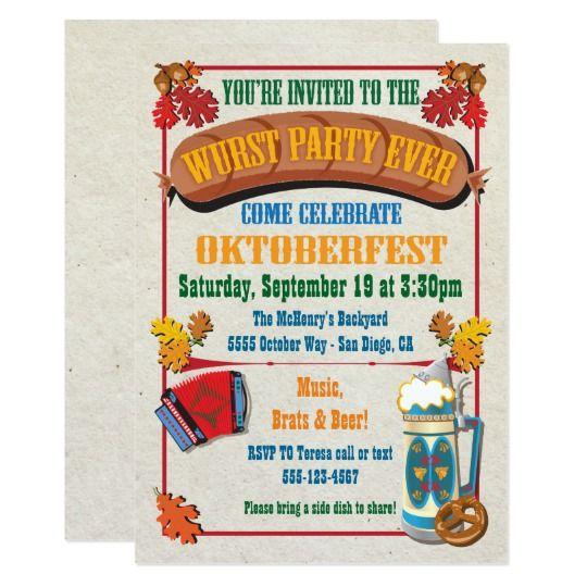 Wurst-Party überhaupt Oktoberfest Einladungen | Zazzle – Uitnodiging personeelsfeest