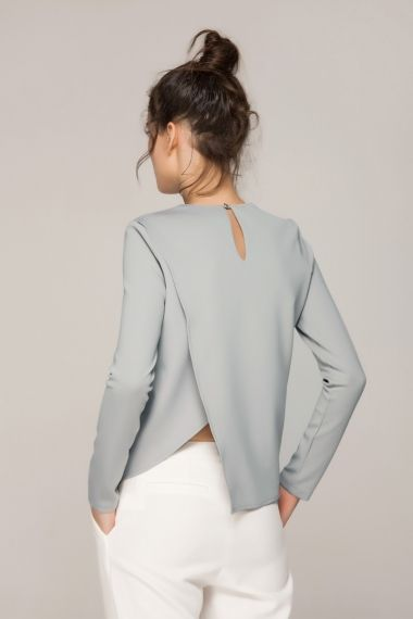 Long sleeved top with asymmetrical back - FrontRowShop