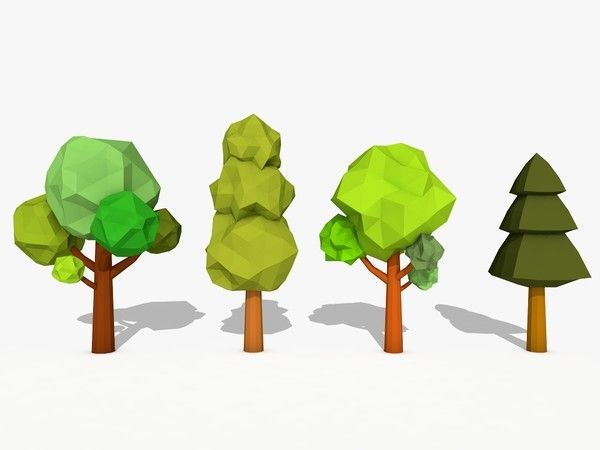 3D Model Cartoon Trees Low Poly by I will do Logo Design just for $5 !, via Behance
