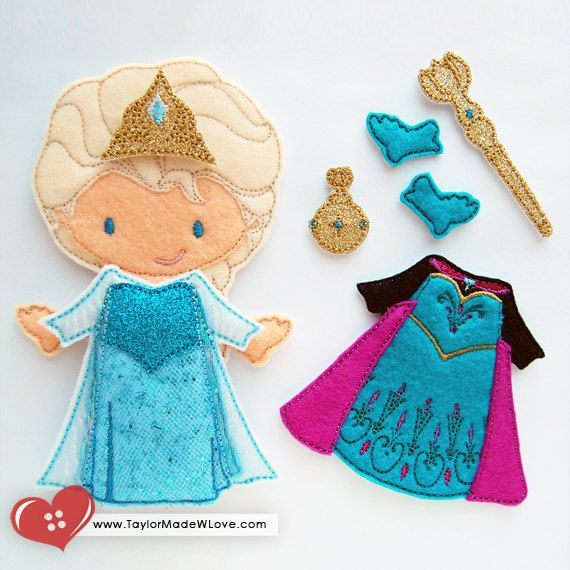 Princess Elsie Cold Winter Snow Felt Paper Doll by TaylorMadeWLove, $18.00