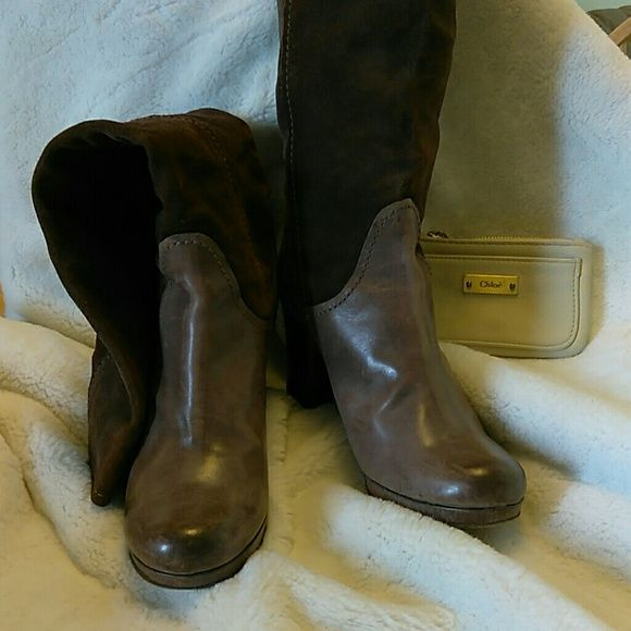 "Authentic Chloe Brown Suede Boots Heels! Final Mark Down. Authentic Brown Chloe Boots! (Pull up).  Suede/ leather knee-high boots with round toes and stacked heels.  Heel: 3 1/4"". 15"" calf circumference. In Ready to wear Condition Firm Chloe Shoes"