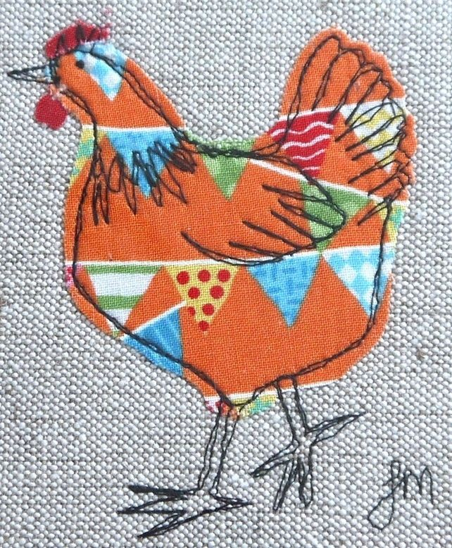 Orange chicken - framed freestyle machine embroidery