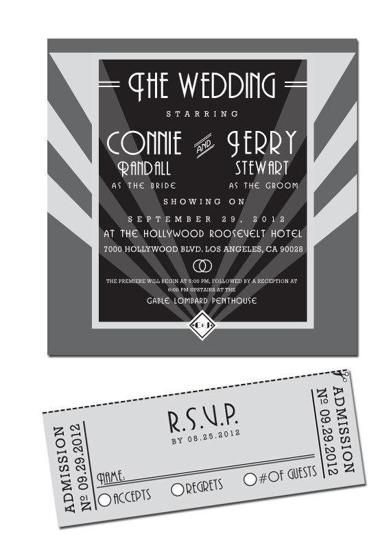 DIY Printable  Old Hollywood Wedding Invitation & by NoblestHart, $40.00