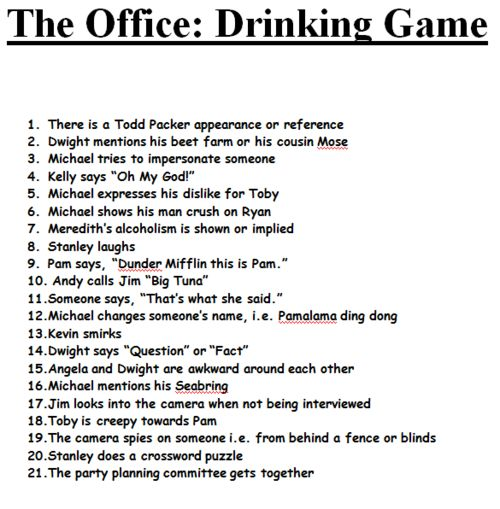the office drinking game - Omg how have I not done this yet???!!