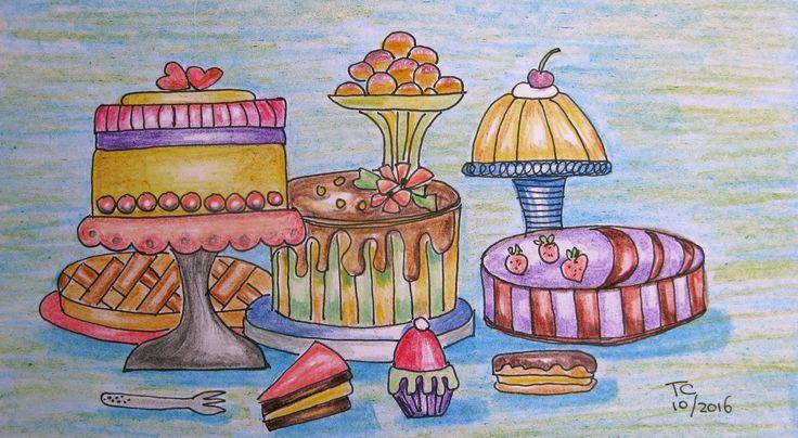 Taarten Illustratie kleurpotlood gemaakt door Tonny Cooyman