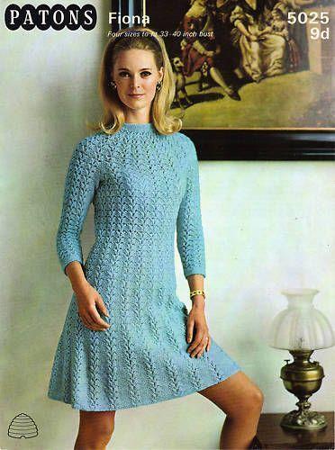 Knitting Patterns Lace Dress Ladies 60s Lace Dress Knitting