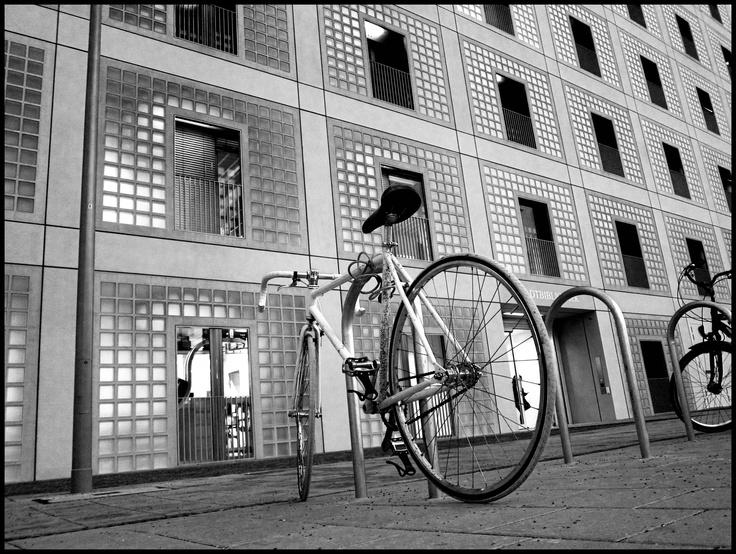 Stuttgart New Library, Germany, Bike, Black and White