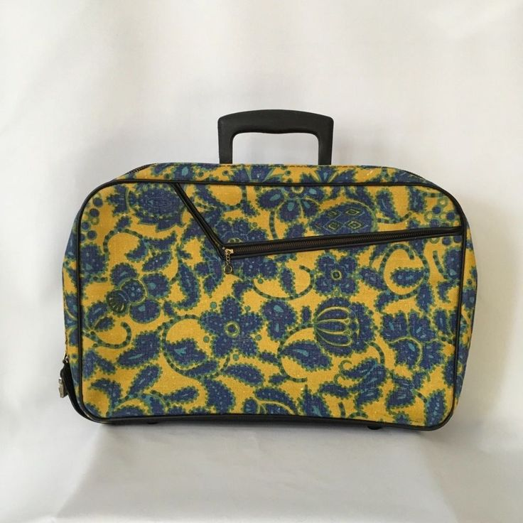 A D Sutton & Sons small suitcase floral yellow blue green mid century 1960s  #ADSuttonSons