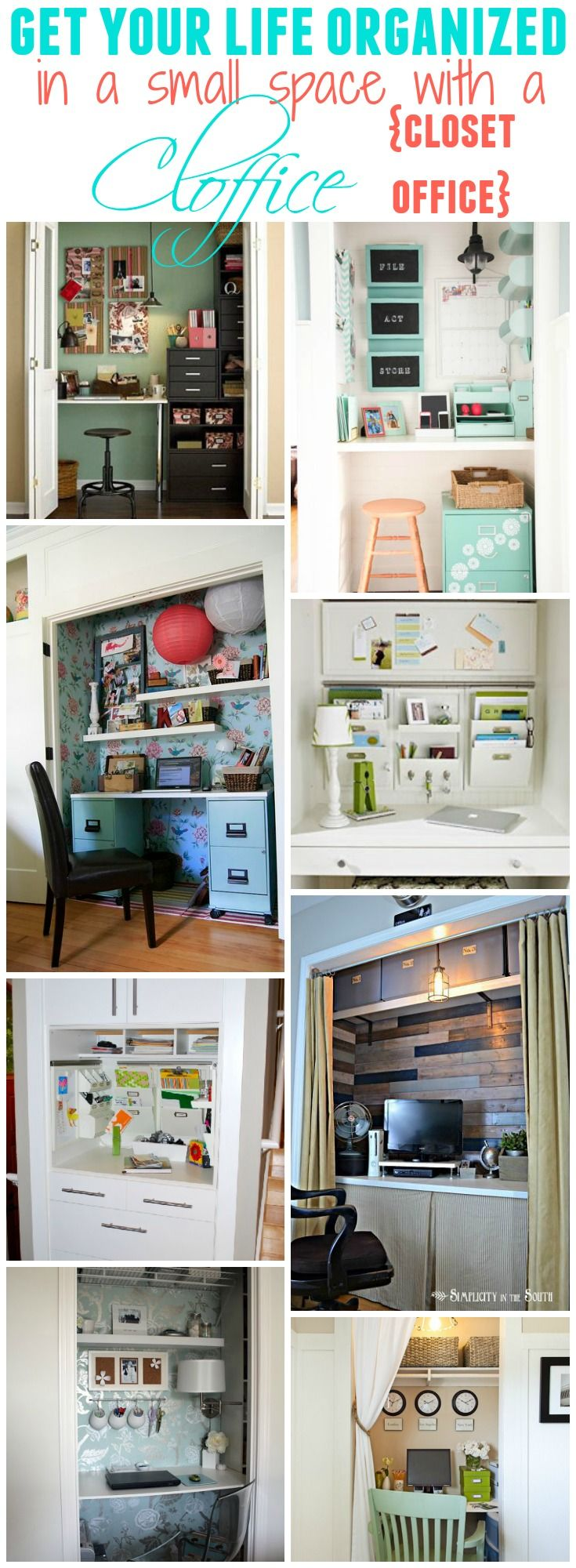 Get your whole life organized in a small space by converting a closet into a little office - or command central - 15 fabulous spaces to see at The Happy Housie